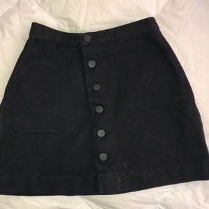 American apparel black denim button up skirt